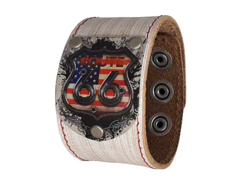 Armband Biker Route66 Vintage weiss