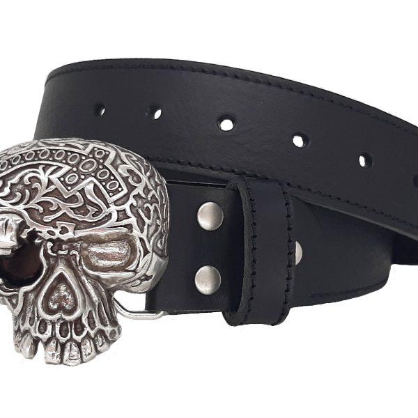 Ledergürtel für Biker mit Totenkopf Gürtelschnalle Buckle Black Death